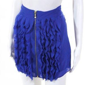 Ted baker blue ruffle fringe skirt zip up